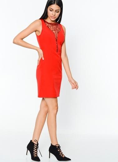 İroni Abiye Elbise Kırmızı